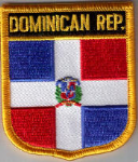Dominican Republic Embroidered Flag Patch, style 07.